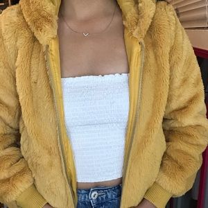 Bright yellow teddy zip up jacket
